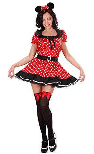 Karneval-Klamotten Minnie Mouse Kostüm Damen sexy Minnie Maus-Kostüm Karneval Damen-Kostüm Größe 46/48 (Halloween Kostüme Maus Für Erwachsene Minnie)