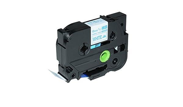 18mm//3m Blau auf Wei/ß Logic-Seek Textilband kompatibel f/ür Brother TZE-FA4