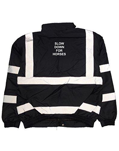 Print Wear Clothing Langsam Bedruckte Bomberjacke für Pferde Gr. XXXL, Marineblau/weiß