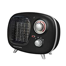 Russell Hobbs R HourETPTC2001B 1.5KW Retro Portable PTC Electric Heater in Black, 2 Heat Settings, Adjustable Thermostat, 15m sq Room Size, 2 Year Guarantee