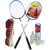 Vizorr Combo Of 2029 Badminton Multicolor Strung Badminton Racquet(G4-3.25 Inches, 310 G) And Aerotic-001 Feather Shuttle Cock (6 Pcs.) And Cotton Badminton Net