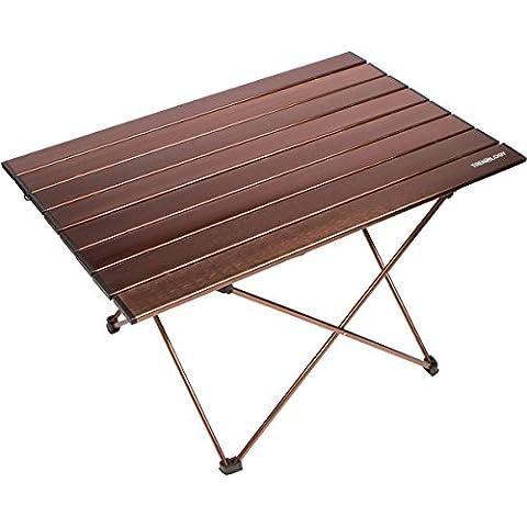 Trekology Portable Table de camping avec dessus de table en aluminium, Hard-topped Table pliante dans un sac de transport pour pique-nique, camping, plage, utile pour salle à manger, couper, cuisiner avec brûleur et facile à nettoyer, marron, Large (27''x18''x16'')
