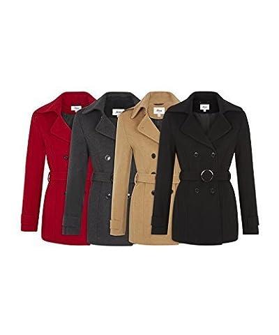 De La Creme - Women's Winter Wool & Cashmere Blend Jacket Ladies Short Double Breasted Belted Coat (UK 8/EU 34/US 6, Camel)