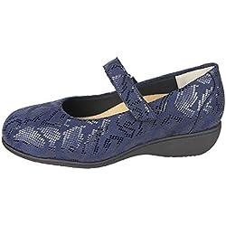Merceditas Mujer para Plantillas extraibles para juanete Color Azul Metalizado con Lycra Ancho Especial con Cierre con Velcro para pies delicados Licra (38 EU)