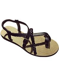 Sandalias de mujer, Internet Las sandalias de la armadura del verano de las mujeres varan los zapatos planos de las sandalias (37, Negro)