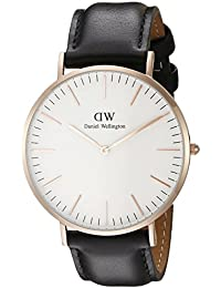 Daniel Wellington Men's Quartz Watch Classic Sheffield with Black Leather Strap 0107DW