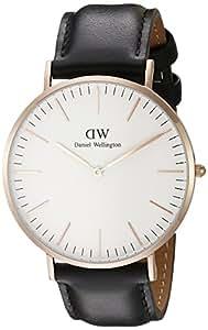 Daniel Wellington Men's Quartz Watch Classic Sheffield with Black Leather Strap 0107DW