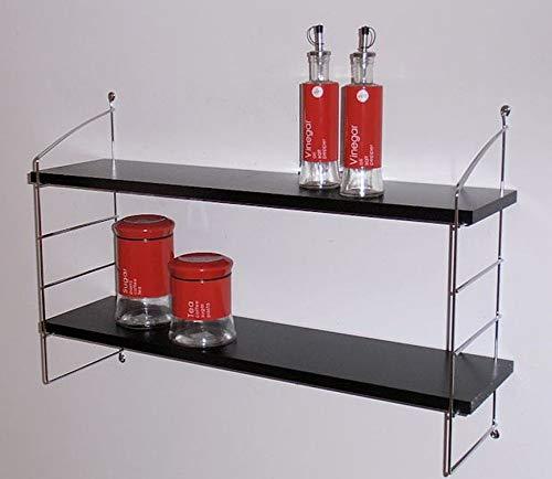 Wandregal Solido, Größen, mit Leiter-System Alba, versch. Farben. (Leiter Alba Chrom 54 cm, schwarz 42x20 cm) -