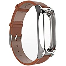 YKDY Leather Strap for Xiaomi Mi Band 2 Wrist Straps Screwless Magnetic Bracelet Miband2 Smart Band Replace Accessories, Host not Included (Brown)