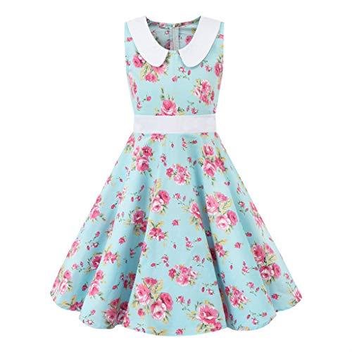 LEXUPE Kinder Teen Kinder Mädchen Vintage 1950er Jahre Retro ärmellose Blumendruck lässige Kleidung(Hellblau,S/120)
