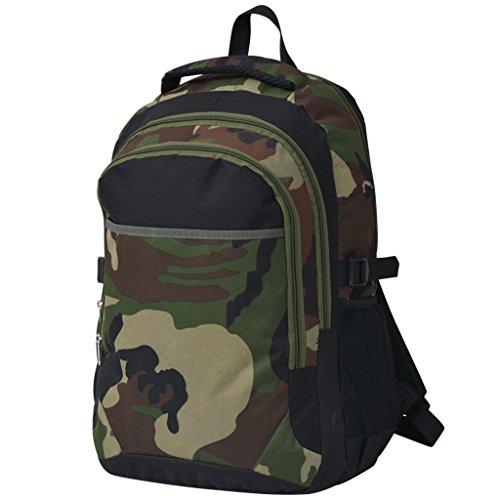 Festnight 40 L Schulrucksack Backpack Schultasche Freizeitrucksack 40 Liter Rucksack Tagesrucksack aus 600D Polyester - Schwarz und Tarnfarbe - Stauraum-insel