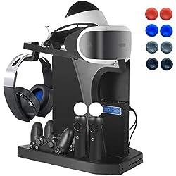 Playstation Soporte Vertical, PSVR Auriculares Headset Stand, Ventilador de Refrigeración, Estación de Carga Cargador de Controlador DualShock 4 y Move Motion, USB Hub, Mando Charger, PS4, Slim y Pro