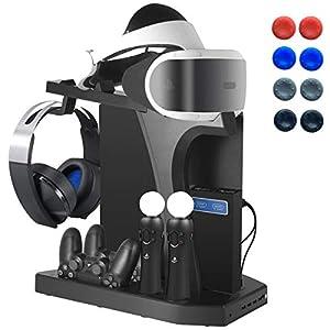 Playstation Ladestation Ständer mit Kühler Lüfter, Vertikaler Standfuß, PS VR Brille Halterung und Ladegerät, USB Hub, Headset Kopfhörer Halter für DualShock 4, Move Motion-Controller, PS4, Pro, Slim