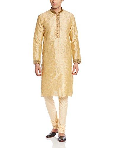 Manyavar Men's Silk Kurta Churidar (8903035202338_S952195-303-S_Biscuit)