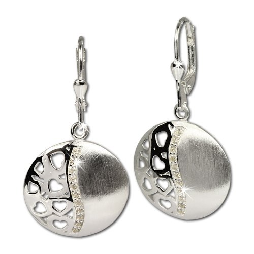 SilberDream Damen-Ohrhänger rund mit Herzen und Zirkonia weiß 925 Sterling Silber SDO326