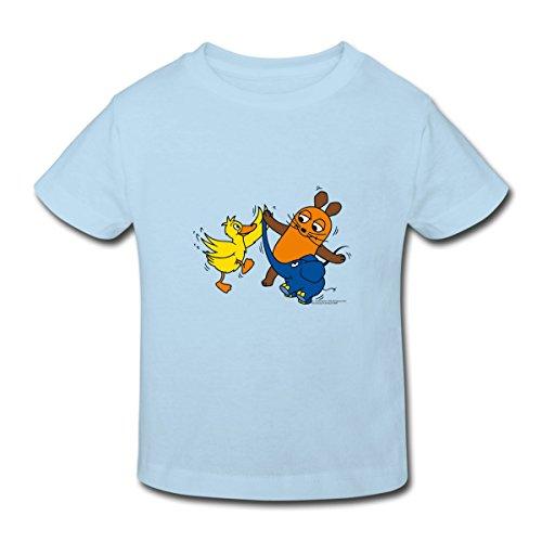 Continental Mädchen T-shirt (Spreadshirt Sendung Mit Der Maus Tanzt Mit Elefant Und Ente Kinder Bio-T-Shirt, 122/128 (7-8 Jahre), Hellblau)