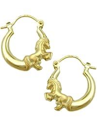 Schmuck Creole Ohrring Pferd glänzend-matt 9Kt GOLD
