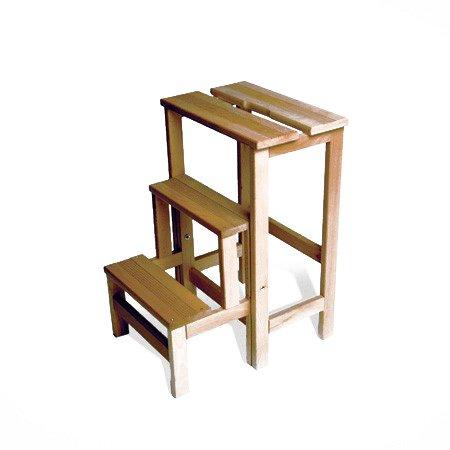 Radius - Hockerleiter, Tritt- kleine Leiter, Trittleiter, Klapphocker - Holz - Buchenholz - Schwarz lasiert