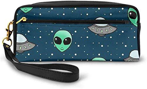 Federmäppchen Alien und UFO Große Kapazität Stift Bleistift Tasche Schreibwaren Organizer Multifunktions Kosmetik Make-up Tasche, perfekte Halterung für Stifte und Kugelschreiber