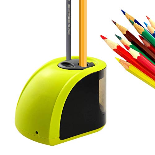 Uong Elektrischer Anspitzer, Batterie/Strom betrieben Elektrischer Bleistiftspitzer Automatische Anspitzer mit Ersatzklingen und Schraubendreher für Klassenzimmer Office Sketching (Gelb)