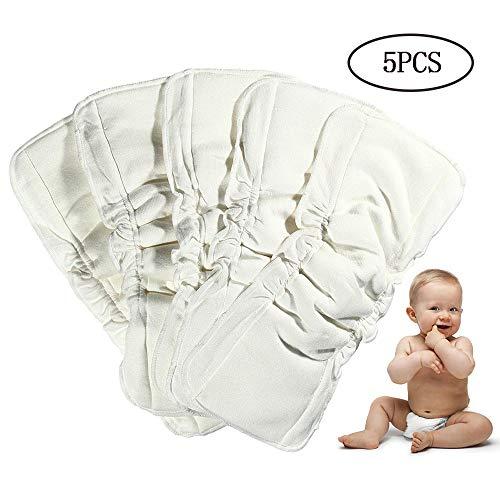 lesgos Windeleinlagen, 5-TLG. Holzkohle-Bambus-Stoffwindeleinlagen, waschbare, saugstarke 5-lagige, auslaufsichere Windeleinlage aus weicher Mikrofaser mit Zwickeln für Babys und Kleinkinder