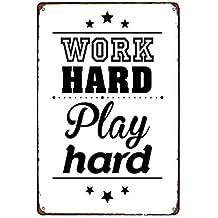Motivations Plakat Postereck work hard play hard Vintage Retro Poster 2187
