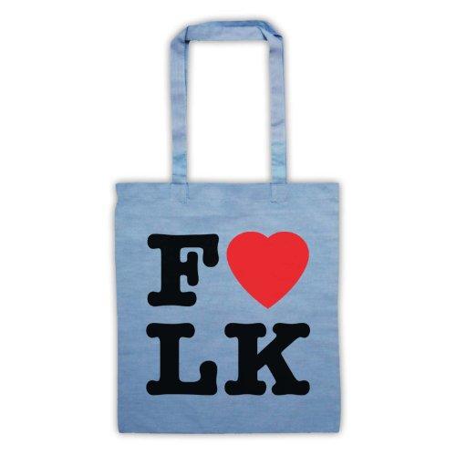 """Scritta in inglese """"I Love-Borsa stile Folk Azzurro"""