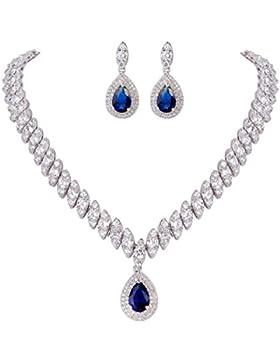 EVER FAITH® Damen CZ Marquise Form Blatt Tropfen Pendant Halskette Ohrringe Set Blau Silber-Ton