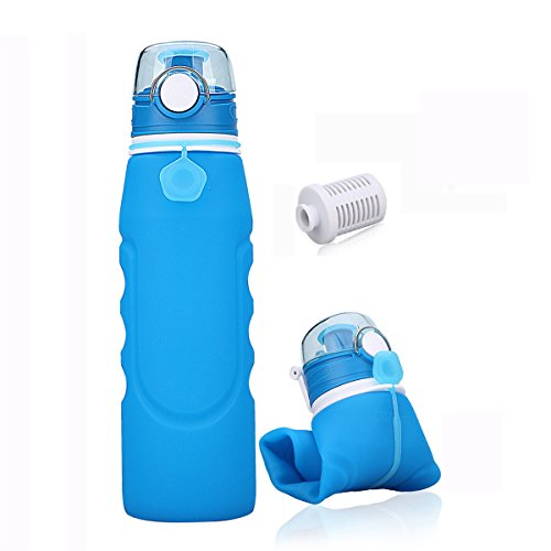 Faltbare Wasserflasche mit Leck Sicherheitsventil BPA freies Silikon Flasche Squeezy Trinkflasche Perfekt für Gym, Sport, Fitness, Outdoor, Camping, Schule , 1000 Ml (Blau)