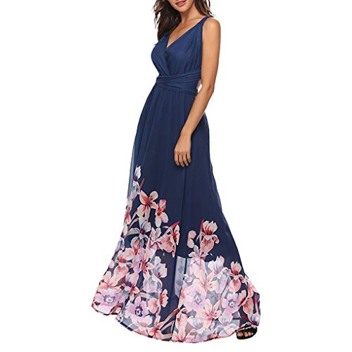 LUGOW Swing Cocktailkleider Damen FreizeitKleider V-Ausschnitt PartyBallkleid Print Maxikleid Damenmode Abendkleider LangKleider Strandkleid Sexy RückenfreiesKleider(Medium,Blau) -