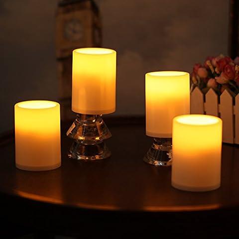LED Vela Sin Llama Vela Lampara, En Casa, En Boda, Decoración para fiestas, Sin Llama, Plástico, Vela Columna Con Temporizador, Color Marfil, Plástico, 7,6x15,2 cm (3x4 Pulgadas) ,4
