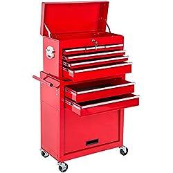 TecTake Chariot d'atelier servante à outils | caisse à outils amovible | -diverses couleurs au choix- (Rouge | Nr. 402802)