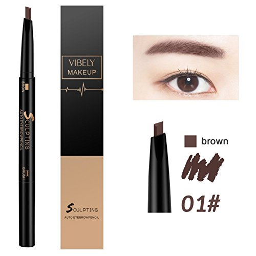 Huoju 5 Couleurs Crayon à Sourcils & Pinceau Double Tete Waterproof Maquillage de L'oeil Beauté Cosmetiqué (brown)