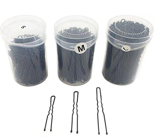 Scatola da 200 forcine per capelli ondulate forma di U colore nero accessori perfetti per chignon raccolti e altre acconciature