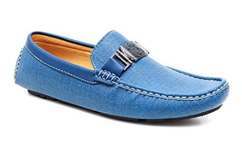 Evoga mocassini uomo casual eleganti blu chiaro azzurro scarpe man's shoes in ecopelle (43)