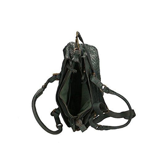 CTM Femme Sac à bandoulière Tressé Vintage Style avec de grandes poignées et bandoulière en cuir véritable Fabriqué en Italie - 35x25x15 Cm gris