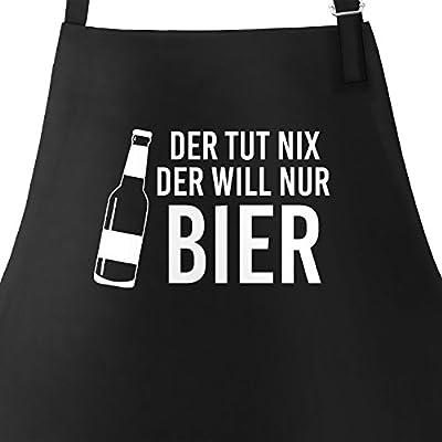 MoonWorks Grill-Schürze für Männer mit Spruch der TUT Nix, der Will Nur Bier Baumwoll-Schürze