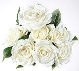 Bogas Cosmetics Ramo de Rosas Artificiales Premium para decoración de hogar, Bodas, restaurantes, hoteles y Eventos Diversos. Máxima Calidad. (Blanca)