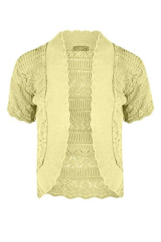 be Jealous nuovo da donna uncinetto maglia da donna a maniche corte crop Coprispalle bolero cardigan top 8 – 14 Yellow