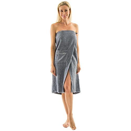 Saunakilt für Damen 90 x 150 cm Frottee Baumwolle langer Schnitt, grau, mit Stickerei