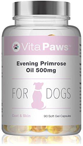 VitaPawsTM Nachtkerzenöl für Hunde - 90 Soft-Gel-Kapseln - reichhaltig an Omega 6 Fettsäuren, wie Gamma-Linolensäure (GLA) -