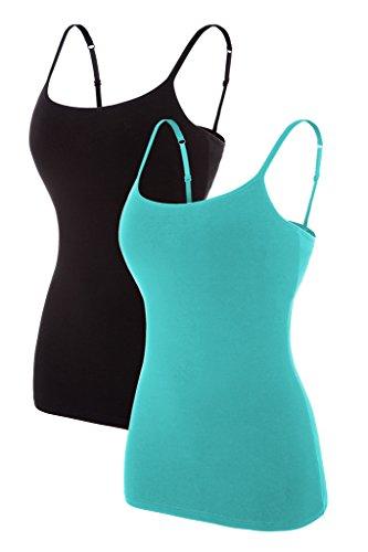 Gepolsterte Bh-hemdchen (CharmLeaks Damen Unterhemd Spaghettiträger Top Hemdchen Mit BH Baumwolle Türkis + Schwarz XL)