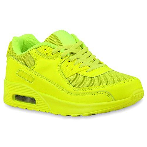 Trendige Unisex Laufschuhe | Damen Herren Kinder | Sportschuhe Metallic Glitzer | Camouflage Sneaker Bunt | Schnür Sport Turnschuhe Neongelb