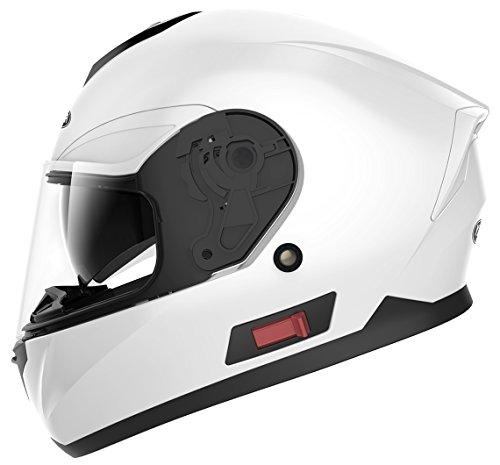 YEMA Casco Moto Integral ECE Homologado YM-831 Casco de Moto Scooter para Mujer Hombre Adultos con Doble Visera -Blanco-S