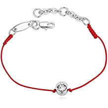 Le bracelet rouge de la Kabbale 18 carats plaqué or blanc avec cristaux  blancs de Swarovski 1445ff63a926