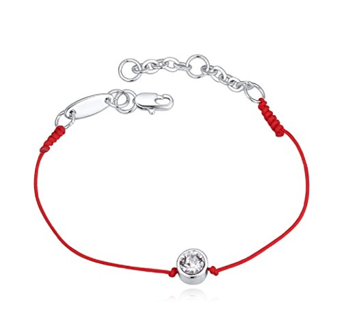Weiß Crystals from Swarovski Kabbala Armband Rote Schnur 18 kt Weiß Vergoldet für Damen 26 cm