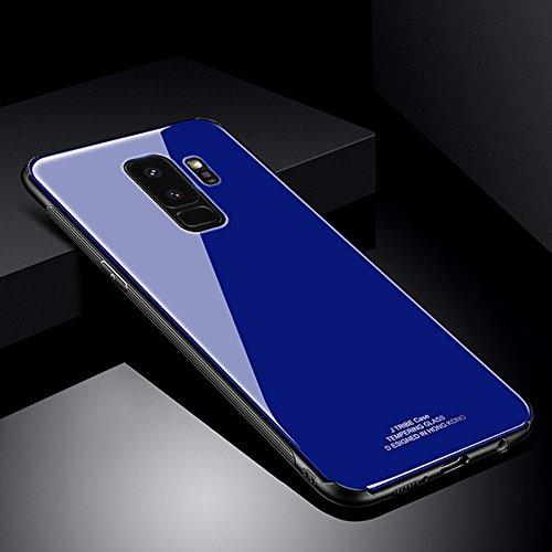 Ysimee Coque Samsung Galaxy S9, Dur PC Hard Case Ultra Mince Étui Housse pour Samsung Galaxy S9 Couverture Arrière en Verre Trempé Rigide + Silicone Noir Absorption de Choc TPU Souple Bumper,Bleu