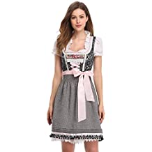 Bluse Schürze Dirndl m rosa braun Damen Landhaus Oktoberfest Bayerntracht