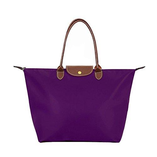 Bekilole Damen Tragetasche Nylon Reise Schultertasche Strandtaschen Gr. Medium, violett (Handtasche Shopper Medium)