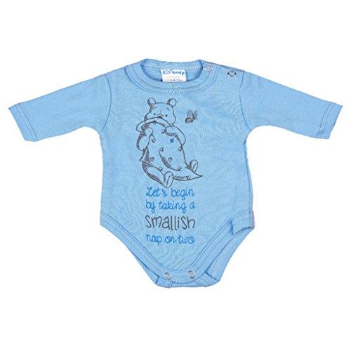 Kleines Kleid Winnie Pooh Langarm Jungen Baby Body für Neugeborene Farbe Blau, Größe 44 (The Pooh Kleider Winnie)